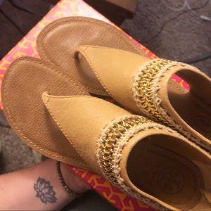 EUC Tory Burch Crochet Rella Sandals 8.5 with Box